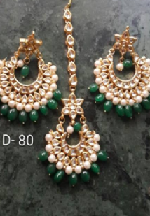 Gold & Green Tikka & Earrings